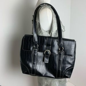 Franklin Covey laptop black faux croc shoulder bag